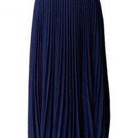 Navy Blue Pleated Maxi Skirt