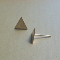 Triangle stud earrings in sterling silver