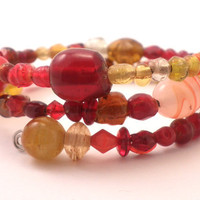 Wrap Around Bracelet in Orange and Red Mixed Glass Beads