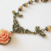 Romantic peach flower necklace - beaded - vintage style jewelry - for her - Europe
