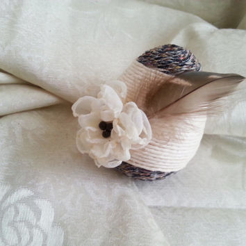 Unusual easter egg ornament, linen cord, hand made silk flower, natural feather, easter decoration natural rustic decor