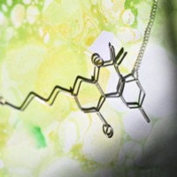 THC Molecule Necklace - Marijuana Weed chemical - Silver Wire Stoner Science Gift