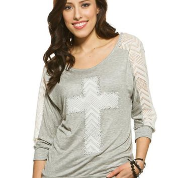 Studded Lace Cross Graphic Tee