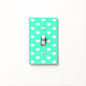 White Hearts Pattern on Mint - Light Switch Cover