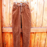 vintage sienna brown, brushed soft cotton Express jean. size  1. size 2. XS to S. made in the USA. skinny jean. high waist jean