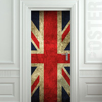 Door STICKER British flag grunge UK banner Great Britain England English London mural decole film self-adhesive poster 31x79&quot;(80x200 cm)