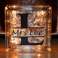 Lighted Glass Block Teacher Appreciation Personalized Custom Monogram