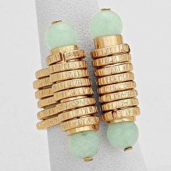 Natural Stone Mint Gold Cuff Ring