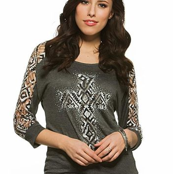 Printed Lace Cross Graphic Tee