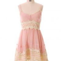 Spaghetti Strap Crochet Pink Lace Dress