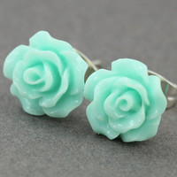 Flower Stud Earrings : Pastel Teal Flower Stud Earrings, Sterling Silver Plated Earring Posts, Simple, Fun