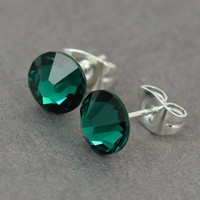 Swarovski Stud Earrings : Emerald Green Swarovski Crystal Stud Earrings, Sterling Silver Plated Earring Posts
