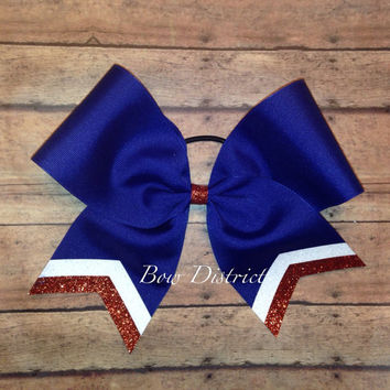 "3"" Royal Blue Team Cheer Bow with White Glitter and Orange Glitter Tail Stripes"
