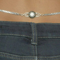 Flower Back Belly Chain, Sterling Silver Beveled Curb with Lobster Clasp