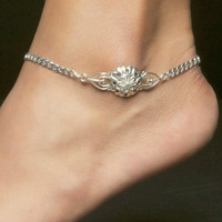 Flower Anklet, Sterling Silver Beveled Curb with Lobster Clasp -- Size: 10in x 4.2mm