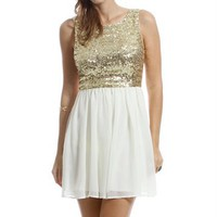 Arianna- Gold Sequin Chiffon Homecoming Dress