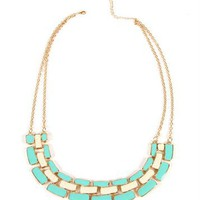 Mint/Ivory Linked Statement Necklace