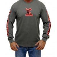 Longsleeve - Charcoal Grey with Orange Logo: Hunting Apparel | Hunting Clothes | Shirts | Stickers | Decals