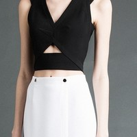 Yigal Azrouel strap cutout cropped top black