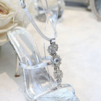 """Silver Shoes with 4"""" heels and .75"""" platform (Style 500-24)"""