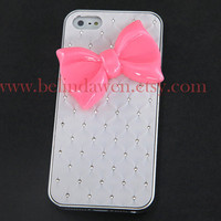 Iphone 5 Case, bow iphone 5 case, pink bow, white Hard Case, bow iphone case