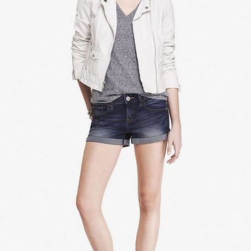 2 1/2 INCH MID RISE CUFFED DENIM SHORTS from EXPRESS