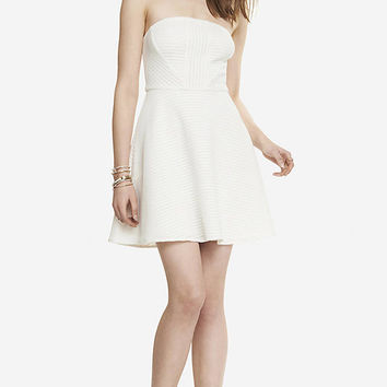 STRAPLESS TEXTURED FIT AND FLARE DRESS from EXPRESS
