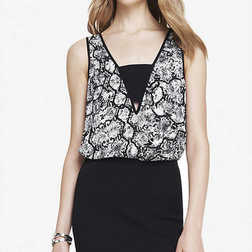 SNAKE PRINT DEEP V BANDEAU TANK from EXPRESS