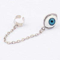Antique Silver Evil Eye Ear Cuff Earrings wholesale