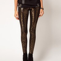 ASOS Leggings in Metallic Animal Print at asos.com