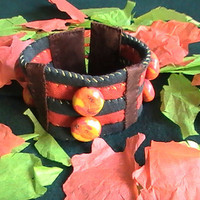 Harvest Pumpkin Patch Upcycle Recycled Boho Cuff Bracelet OOAK