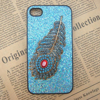 Steampunk Peacock Feather Blue bling glitter hard case For Apple iPhone 4 case iPhone 4s case cover