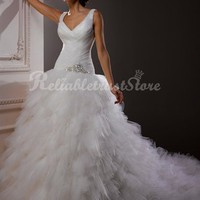 Chic A-line Sweetheart Floor Length Tulle Princess Wedding Dress-$348.99-ReliableTrustStore.com