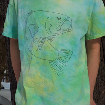 Bass Shirt- Fishing Shirt- Tie Dye Fish Shirt- Fisherman Gift- Mens Beach Shirt- Mens Tie Dye Shirt- Fly Fishing Tshirt- Adult L