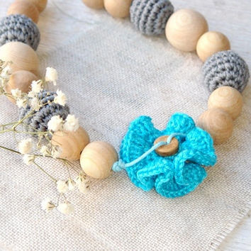 Flower nursing necklace  Teething  Breastfeeding necklace Grey blue Babywearing  READY TO SHIP
