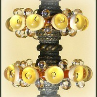Handmade Lampwork Beads, Light  Amber Bubble Glass Beads, Lampwork Disc Set (6)