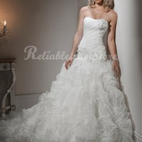 Amazing A-line Sweetheart Floor Length Chiffon Beach Wedding Dress-$358.99-ReliableTrustStore.com