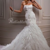 Luxury Mermaid Strapless Floor Length Lace Beach Wedding Dress-$375.98-ReliableTrustStore.com