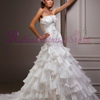 Luxury Mermaid Strapless Organza Beach Wedding Dress-$358.99-ReliableTrustStore.com