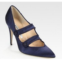 Manolo Blahnik Satin And Grosgrain Ribbon Mary Jane Point Toe Pumps