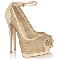 Giuseppe Zanotti Mesh and lizard-effect leather sandals