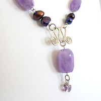 Amethyst statement necklace with pearls, artisan sterling silver