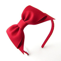 Red Bow Headband Snow White Costume Prop Pretend Play Dark Red