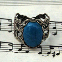 Silver and Blue Howlite Ring - $17.50 : RagTraderVintage.com, Handmade Indie Retro Accessories