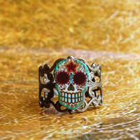 Antiqued Dia de los Muertos Filigree Sugar Skull Ring Brass Finish