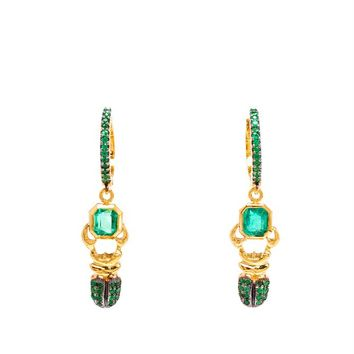 18K Yellow Gold and Emerald Khepri Earrings - DANIELA VILLEGAS