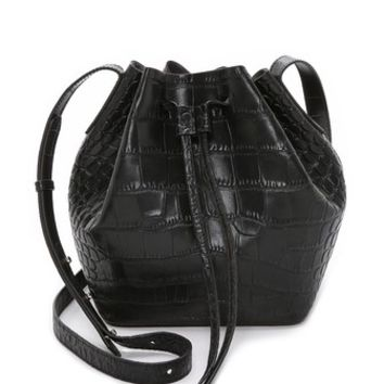 Rachael Ruddick Croc Embossed Beach Bucket Bag