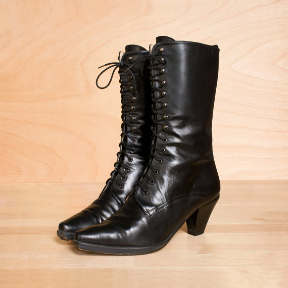 vintage 1980s black leather boots from kenaione on etsy