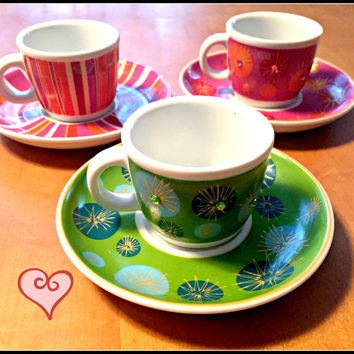 Julia Minasian Target Espresso Cup Dessert Plate Emerald Green Celebrate Life Bright Colors Teacups 3 with Saucers Cute Red Pink