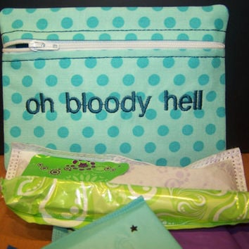 Oh Bloody Hell  Mint Polka Dots Tampon Keeper and Maxi Pad Holder Zippered Fabric Purse Pouch
